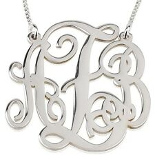 """XLarge Monogram Necklace Silver 1.75"""" Custom Made Initial Pendant - oNecklace ®"""