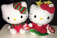 Hello Kitty Christmas Scarf & Reindeer Set of 3 Ty Beanies MWMT - FREE SHIPPING