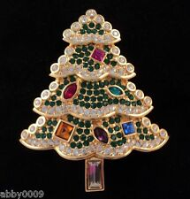 Signed Swarovski Christmas Tree Green Outlined with Clear Crystals Brooch Pin