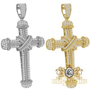Big XL 3.30'' 14K Gold Finish Simulated Diamond Jesus Cross Men's Pendent Charm