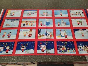 Christmas Time Panel 23x42 Peanuts Quilting Treasure Charlie Brown Snoopy Blocks