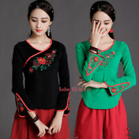 Chinese Womens Embroidery Stretchy Cotton Long Sleeve T-shirt Flower Tops Blouse