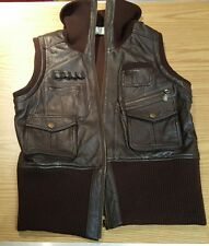 Alberto Makali Vintage Brown Leather/Lambswool Vest Size XL