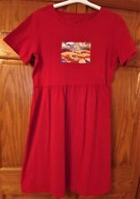 Michael Leu Womens Dress Red Cotton Half-Sleeve Knee Length Size S/M *NWOT**HTF*