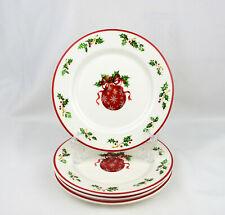 Set of 4 Christopher Radko Traditions Holiday Celebrations Christmas Salad Plate