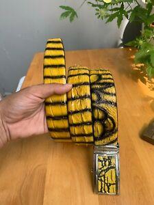 """Crocodile Alligator PATINA leather skin belt men 49"""" long 125cm length 4cm wide"""