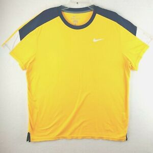 Nike Dri-Fit Mens Extra Large Athletic Tee T- Shirt Yellow Blue XL
