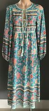 Multi Colour Floral Print Long Sleeve Dress w Tassels Ties at Chest Size S/10
