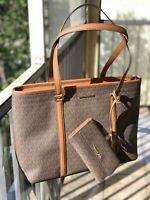 Michael Kors Women Large Leather Brown Shoulder Tote Handbag Bag +Trifold Wallet