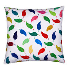 """Multi Colour Leaves Print 100% Twill Cotton 16"""" X 16"""" Cushion Cover for Sofa Bed"""