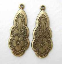 Antiqued Brass Flower Charm Etched Pendant Drop Vintage Style Pansy 27mm