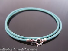 """2mm Turquoise Leather & Sterling Silver Necklace Or Wristband 16"""" 18"""" 20"""" 22"""" 24"""