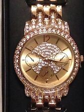 Avon Bling Pave watch w/crystals by Swarovski Goldtone wrist watch-new w/box