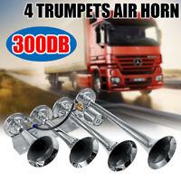 300db 4 Trumpet Train Air Horn Kit Super Loud Car Truck Boat SUV 12V 24V Silver