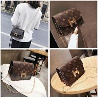 Women's Quilted Chain Brown Bag Leather Shoulder Bag Crossbody Handbag Ladies