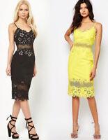 River Island Mesh Insert Pencil Midi Dress in Black & Yellow Size 6 to 14