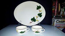"Vtg 3 Pc Lot Blue Ridge Southern Pottery BALTIC IVY ~ 13"" Oval Platter, 2 Cups"