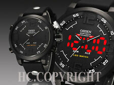 Fashion OHSEN Military Dual Time Display LED Lights Sports Men's Wrist Watch