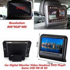 "Black 9"" Car Digital Monitor Video Headrest DVD Player Game USB FM IR SD"