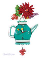 "Gorgeous ""Spring Bouquet"" Teapot Designer Wall Clock by Allen Designs"