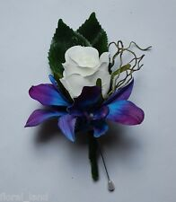 LATEX SILK WEDDING FLOWER BLUE SINGAPORE ORCHID WHITE ROSE CORSAGE BUTTON HOLE