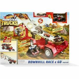 Hot Wheels Monster Trucks Downhill Race & Go Playset Christmas Gift Toys 2021 FR