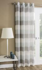 """Mykonos Plain Striped Soft Linen LOOK Eyelet Ring Top Voile Single Curtain Panel Duck Egg Grey Silver Stripped 55"""" Inches Width X 72"""" Drop"""