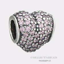 Authentic Pandora Sterling Silver Pink Pave Heart Bead 791052PCZ *SPECIAL