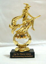 HALLOWEEN TROPHY WITCH ON BROOM  PUMPKIN COSTUME PARTY AWARD MB TRUNK OR TREAT