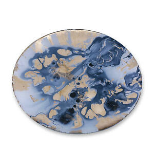 Beatriz Ball NEW ORLEANS Glass Blue and Gold Marble Large Round Platte