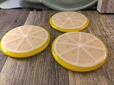 3 Glass Lemon Coasters Signed Mid Century Modern