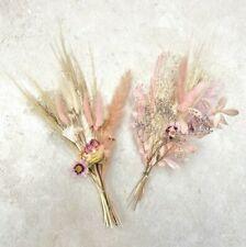 Dried Flower Mini Bouquet Gift White Pink Pampas Wedding Florist Stem Bunny Tail