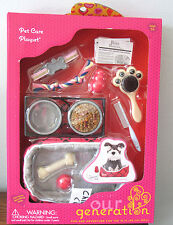 "American Our Generation PET CARE PLAYSET Dog Cat Food Bed Toys 18"" Girl Doll NEW"