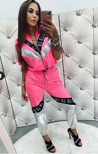 LOLA BIANKA  neon pink white 2 pieces tracksuit  , set, cubic zircon size one