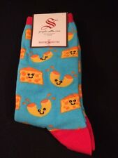 So Cute New Socksmith Mac and Cheese Women's Crew Socks Light Blue One Size 9-11