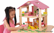 VOILA TOY eco friendly Rubber Wood PINK DOLLS HOUSE + FURNITURE child's gift NEW