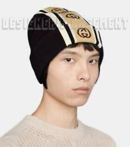 GUCCI black/beige INTERLOCKING G logo stripe M wool Beanie hat NWT Authentc $450