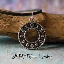Lunar Phases Moon Necklace Silver Plated Minimalist Jewellery Witch Occult Pagan