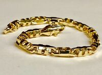 14k Solid Yellow Gold Mens Anchor Mariner Link Chain Bracelet 6 MM 30 grams 9""