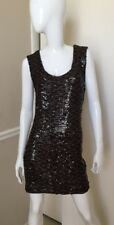 GUESS Los Angeles NEW! Dk Brown Sequin Sleeveless Sheath Dress Sz XS NWOT!