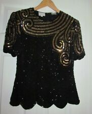 Vintage Stenay 100% Silk Beaded and Sequin Womens Top Black & Gold Sz S