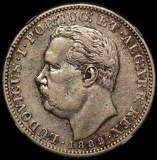1882 Portuguese India GOA One Rupia Silver Coin - NGC XF 40 - KM# 312