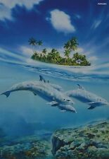 DELPHIN - A3 Poster (ca. 42 x 28 cm) - Insel Karibik Urlaub Delfin Tier Plakat