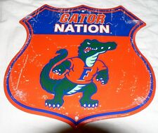"FLORIDA GATORS ""GATOR NATION "" SHIELD SIGN MAN CAVE GAME DORM ROOM FOOTBALL DEN"