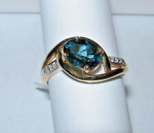 10kt Yellow Gold Ladies Ring Blue Topaz And Diamond New Size 7  Reduced