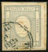 Sardegna 1861 Sass. 20b Usato 100% firmato Cardillo