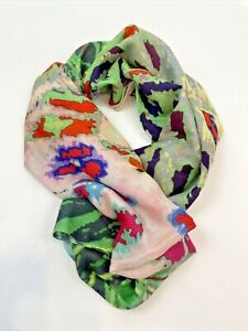 Hand Painted Silk Scarf White Armenian silk scarf Batik Black Pomegranate Red Brown Turquoise Gift