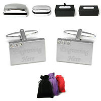 Brushed Metal Wedding Cuff Links Personalised Engraved Message Gift Box Bestman