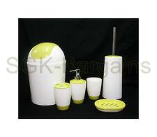 6pz Bagno Accessorio Set Tumbler TOILET BRUSH Lozione Sapone Cestino Green & White