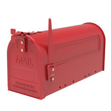 New Red Iron Post Mount Mailbox Outdoor Letter Storage Rural Designed Mailbox